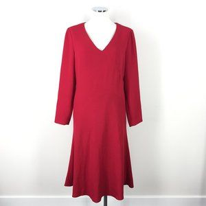Vintage David Warren 10 Red Crepe A line dress